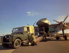 1971 Loading a Landrover, reg No: EZ6762, into Bristol Freighter NZ5910 at RNZAF Base Whenuapai