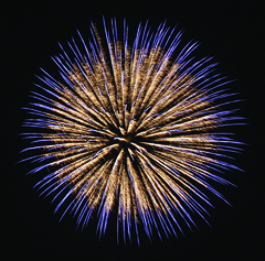 6 FIREWORK SHELL GOLD WAVE TO BLUE STARS