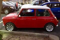 Austin Mini, Red / white roof, RHD, port profile, twilight IMG_3343