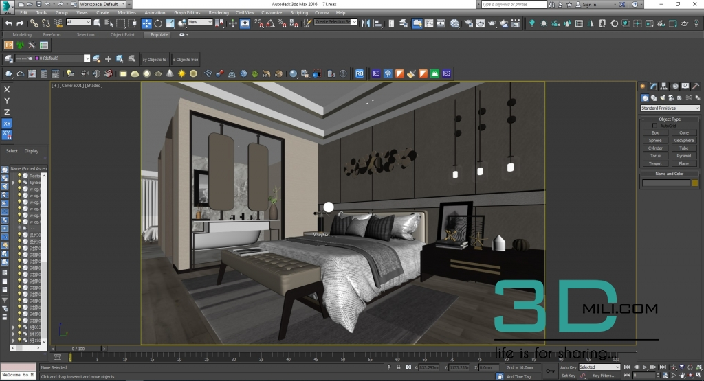 160 Bed Room 3dsmax File Free Download - 3D Mili - Download