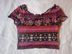 New Look Generation 915 Orange newlook croptop 1305290491369 Pink Rose Black Floral Geometric Tribal Crop Top Multicolour Aztec Flower festival belly Shirt 45