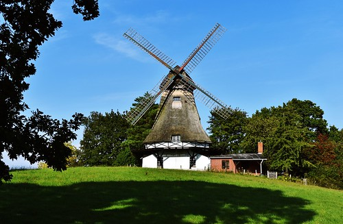 An old thatched windmill in Klein Barkau near Kiel, Germany