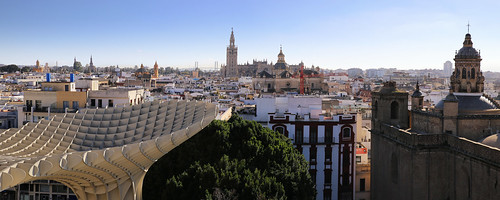 Beautiful view from Metropol Parasol of Seville