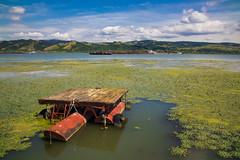 Small fishing platform on the Danube river