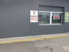 newly repainted Bottoms Up Snacks & Spirits