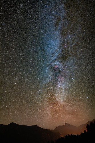 Milky Way and M31 above Großglockner, Austria