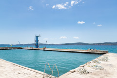 Swimming pool on the Adriatic coast of Zadar, Croatia