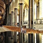 Reflections in The Font, Salisbury Cathedral by Sue Ould