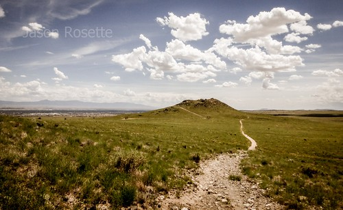 High desert landscape with trail, seen from Petroglyph monument New Mexico
