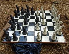 Outdoor chess set at Easton Lodge Gardens, Little Easton, Essex, England