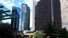 An array of glass and steel, reflections and blue sky, windows and Windows, view from Microsoft City Center Plaza, Bellevue, Washington, USA