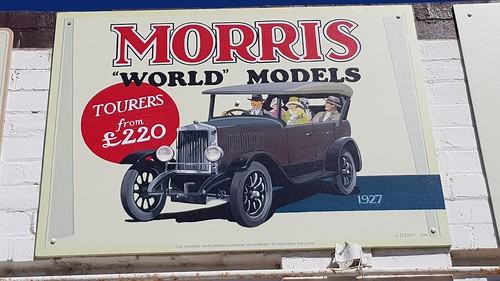 Morris Tourer 1927, Posters in the Town that built Sydney with  Cement from the Commonwealth Portland Cement Co. At Portland NSW. This town is worth the detour with lots of posters from our illustrious past. They also have Silo Art, now open to the public
