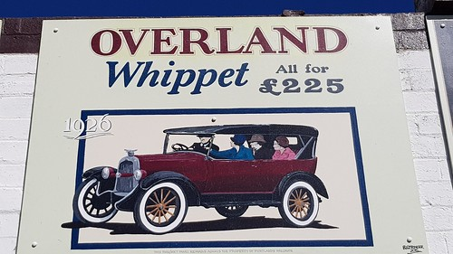 Overland Whippet 1926, Posters in the Town that built Sydney with  Cement from the Commonwealth Portland Cement Co. At Portland NSW. This town is worth the detour with lots of posters from our illustrious past. They also have Silo Art, now open to the pub