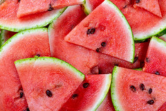 Fresh ripe watermelon slices background