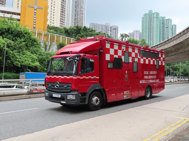 F 7705 is a mobile command unit , Hong Kong Fire Services Department .