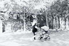 Image by esallen52 (183909356@N03) and image name Sunlit Stroll photo  about A mother and baby taking a walk along a sunlit street.
