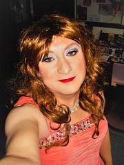 Red hair salmon dress Close up 1b