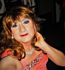Red hair salmon dress Cose up 6b