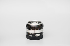 Vintage photography lens on white background