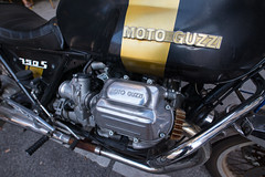 Close-up of a MOTO GUZZI motorcycle