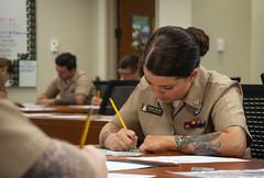 Sailors take the Navywide E-6 exam.
