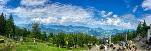 Panoramic view from Weinbergerhaus over the river Inn valley, Tyrol, Austria