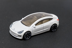 Toy car: side view of the Hot Wheels Tesla Model 3 version