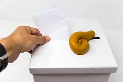 A pile of turd lies on a ballot box while a man votes