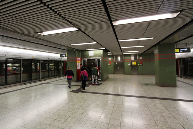 Lift up to concourse level at Lok Fu station