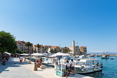 Komiza Town Harbour with a view to the Fishermen's Museum on Vis island, Croatia