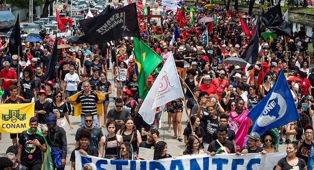 No Recife, manifestação ocorreu no bairro Derby, região central da capital pernambucana - Créditos: Levante Popular da Juventude