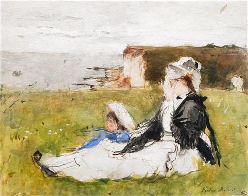 """""""Edma et sa fille sur la falaise"""" de Berthe Morisot (Musée d'Orsay, Paris)"""