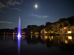 Moon and Jupiter Over Lake Anne, Reston.
