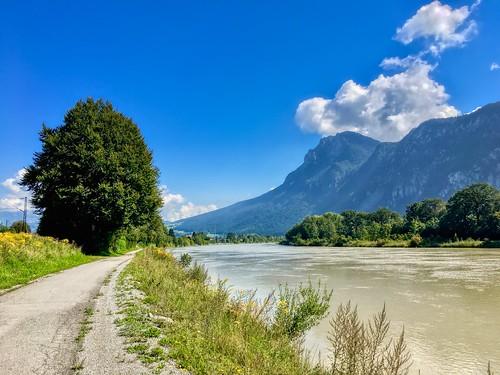 River Inn with Zahmer Kaiser mountains near Kiefersfelden, Bavaria, Germany