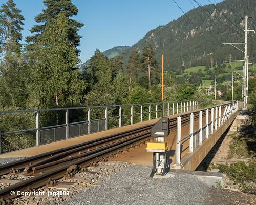 GLE180 Rhaetian Railway Bridge over the Glogn River, Ilanz, Canton of Grisons, Switzerland