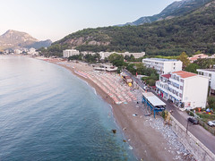 Aerial view of Sutomore Beach in Montenegro