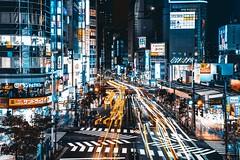 Shinjuku at night (stacked 4 photos), Tokyo, Japan