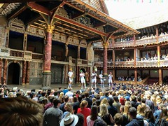 "Image by esallen52 (183909356@N03) and image name Shakespeare Sunday photo  about Musicians entertain before the start of an up-to-date performance of ""A Midsummer Night's Dream"" at Shakespeare's Globe Theatre in London. (Unfortunately photography is not allowed during performances.)"