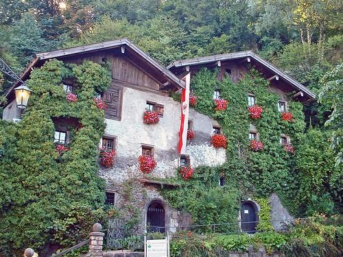Autriche, des maisons prise par la nature à Rattenberg au Tyrol