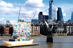 Image by esallen52 (183909356@N03) and image name The Ship of Tolerance photo  about The Ship of Tolerance, installed on the River Thames in London beside the Millennium Bridge, is part of a festival promoting cross-cultural dialogues in a variety of art forms.