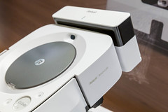 Close-up of the mop Robot m6 Braava jet with charging station