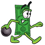 Clip Art Graphic of a Flat Green Dollar Bill Cartoon Character