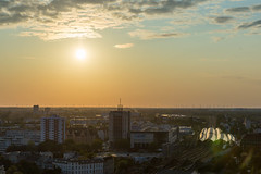 Sunset over Berlin: Ariel view of the Select Hotel Spiegelturm to the train station in Spandau
