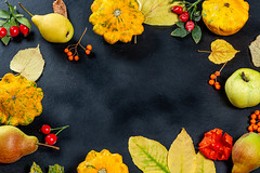Frame with yellow leaves, fruits, vegetables and berries on black background with free space