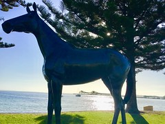 Port Lincoln. On the esplanade. Statue of triple Melbourne Cup winner Makybe Diva who was trained by Port Lincoln trainers.