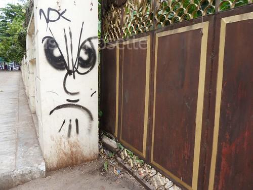 Graffiti Near Gate of Villa in Yangon, Mynamr