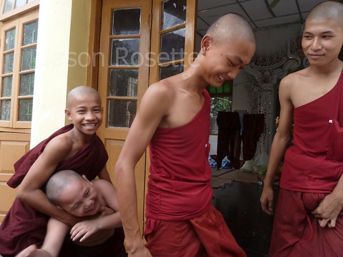 Young monks in Burma hanging out (#3)