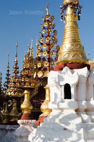Golden Buddhist Spires in a Line with White Stupa, Burma (#1)