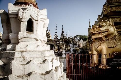 Burmese Golden Lion and White Stupa at Corner of Temple, Bagan