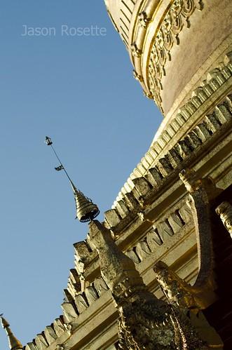 Patial view of large Golden temple at Bagan, Burma